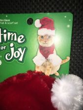 Cat Santa Hat And Scarf Set Holiday One Size New Adjustable Under Chin Reindeer