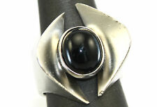 SIGNED Vtg BIOMORPHIC Modernist SP Sterling Silver ONYX Chunky BIG Ring Sz 7.5