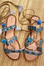 HALLHUBER wunderschöne Sandalen zum Schnüren Gr. 40 neu Bommeln Pompom