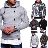 Mens' Long Sleeve Pocket Hoodie Hooded Pullover Sweatshirt Camo Outwear Tops