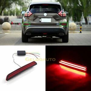 2pcs For Nissan Murano 2016-2018 Red LED Rear Bumper Tail Brake Light Lamp
