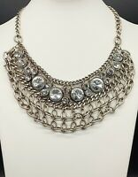 Vintage Necklace/Gold Tone Chain Bib/Large Crystals Inset/Middle East/Bohemian