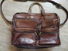 "FRYE brown LEATHER messenger laptop BAG broke-in patina 15"" Briefcase"