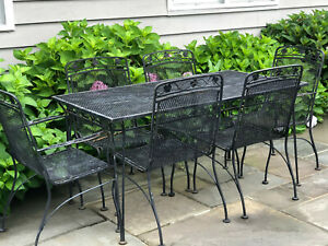Vintage Wrought Iron Patio Table and 6 Chairs Probably Woodard