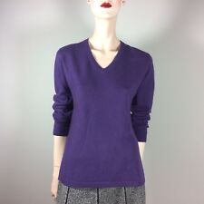 CASHMERE Damen Pullover M 38 Lila 100% Kaschmir V Oberteil Casual Style Violett