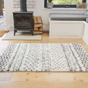 Tribal Cream Ivory Shaggy Rugs Deep 3cm Shag Mat Soft Non Shed Living Room Rugs