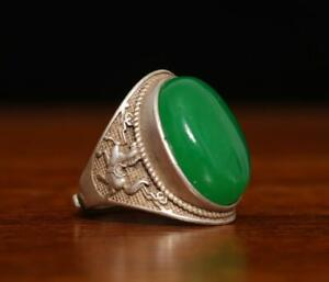 PERFECT RARE CHINESE CARVED NATURAL JADEITE RING QIANLONG MARKED (A81)