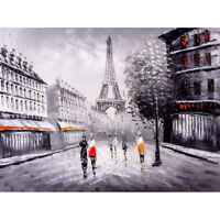Eiffel Tower In Paris City Streets Art Print Canvas Premium Wall Decor Poster