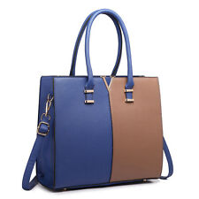Women Structure Faux Leather Shoulder Handbag Tote Bag Satchel Plain Navy/Brown