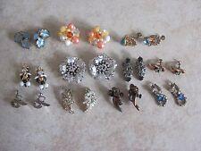 Vintage Lot Of 11 Clip Screwback Rhinestone Beaded Designer Earrings