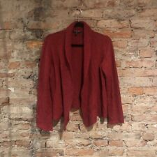 Eileen Fisher Cardigan Size M Petite Open Front Red Wool Mohair Cashmere Blend