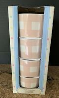 EASTER Spring RAMEKINS PASTEL PINK White Checkered Plaid BUNNY SET 4 NEW