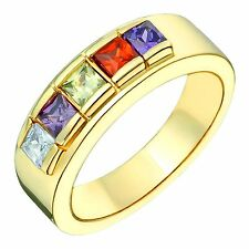 10k Yellow Gold Family Ring with Multi Colored Birthstones 4mm Wide Wedding Band