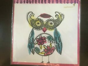 Papyrus Square Blank Card:  Beautiful & Colorful Owl Graphic  Metallic Embossing