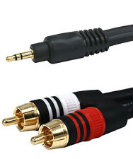 10 Ft 3.5 mm Aux Cable Plug to 2-Rca L R Jacks Audio Auxiliary Gold Plated 22Awg