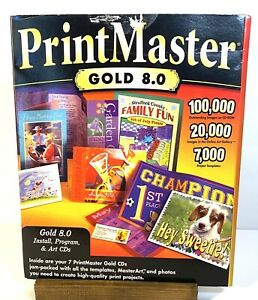 PrintMaster GOLD 8.0 - 7 Disc Pack - with Art CDs -Vintage Software Used