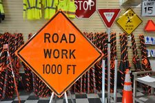 "Road Work 1000 Ft. Fluorescent Vinyl With Ribs Road Sign 48"" X 48"""