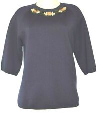 MARNI NAVY KNIT WOOL LARGE BEADS EMBELLISHMENT 3/4 SLEEVES CREW NECK TOP SIZE 44