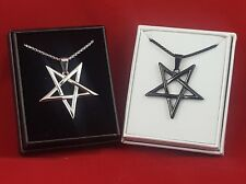 Inverted Pentagram / Pentacle Star Necklace - Black and Silver - 2 Items