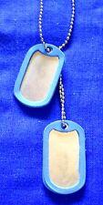 Halskette USA silberfarben mit blauem Gummiring Erkennungsmarke Dog Tag Silencer