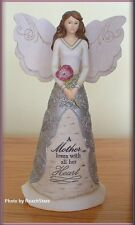 MOTHER ANGEL FIGURINE WITH FLOWER BY PAVILION ELEMENTS 8 INCH FREE U. S.SHIPPING
