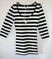 SUPRE Brand Black White Striped 3/4 Sleeve Tee Top Size XXXS BNWT #TU107