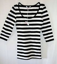 SUPRE Brand Black White Striped 3/4 Sleeve Tee Top Size XXXS BNWT #TU107