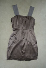 Fab MarcCain Mocha Brown Silk Dress Knitted Straps Size N1 UK 8 Perfect