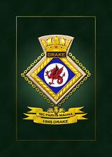 HMS DRAKE SHIPS BADGE/CREST - HUNDREDS OF HM SHIPS IN STOCK
