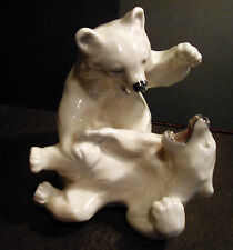 Polar Bear Cubs Playing by Knud Kyhn - Royal Copenhagen #1107 Factory First
