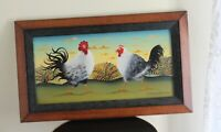 DONNA D MASTERS KRIEBEL Folk Art PAINTING Roosters Chicken Original Oil SIGNE