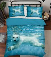 3D Polar Bear A300 Animal Bed Pillowcases Quilt Duvet Cover Set Queen King Zoe