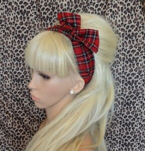 New TARTAN CHECK FABRIC BENDY WIRED BOW WIRE HAIR WRAP SCARF HEAD BAND RETRO 50s