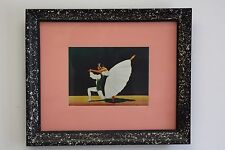 CARLO of Hollywood MCM Frame Original Painting Dancer Atomic Speckle Blk Pink