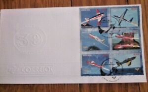 AVIATION BRAZIL AIRPLANES 6 STAMPS SET 2002 FDC EMBOSSED CACHETFUMACA SQUADRON
