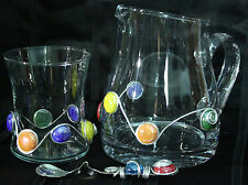 GLASS PITCHER & Molded SPOON Metallic Molded Glass Stones Unique HANDCRAFTED