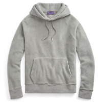 $695 Ralph Lauren Purple Label Italy Mens Grey Fleece Hoodie Sweatshirt Sweater