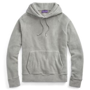 $695 Ralph Lauren Purple Label Italy Mens Grey Fleece Hoodie Sweatshirt Sweater