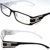New Mens Womens Rectangular Clear Lens Frame Fashion Glasses Nerd Small Stripe