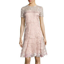 ELIE TAHARI Bamboo Aura Blush Pink Floral Embroidered Applique INEZ Dress 8 NWT