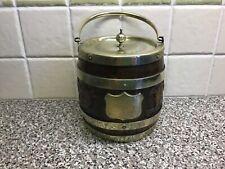 More details for vintage carved oak biscuit barrel / ice bucket.