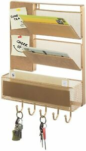 2-Slot Wall Mounted Gold Metal Mesh Mail Sorter w/ Basket, Cork Board & Key Hook
