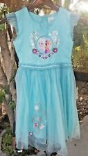 Disney Frozen Elsa & Ana  Girls Dress Blue Embroidered Sparkly  5/6 Beautiful