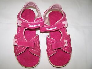 Timberland, Youth Girls  Size 3. Pink Sandals. Pre-owned