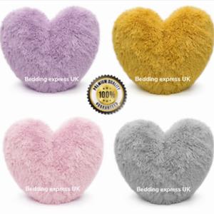 Teddy Heart Fleece Shape Fluffy Filled Super Soft Cushion Home Decor 38 cm
