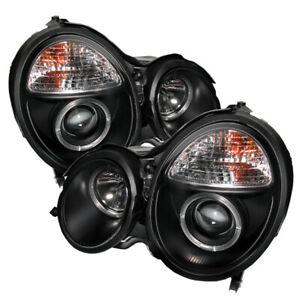 Mercedes Benz 00-02 W210 E320 E350 E430 E500 E55 Black Halo Projector Headlights