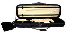 Ferris VC632 Estuche negro con ribete marrón de violín tiene 2 arcos 3 Bolsillos Correa