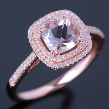 10K Rose Gold Cushion 6mm Morganite Fine Jewelry Engagement Diamonds Halo Ring