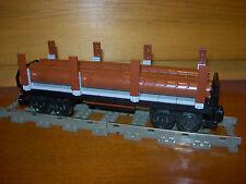 Lego Train Log Flat Car Custom City 9V RC Power Functions w/ 3 Logs 60052 7939