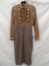 AQUASCUTUM Ladies Brown Grey Dress Size 8 Long Sleeve Cocoa Mist £375 New